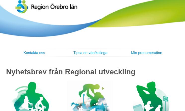 Skärmklipp från nyhetsbrevet . Logotyp och illustrationer med människor och miljöer i Örebro län
